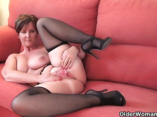 Gorgeous granny with big tits shows her fuckable horde