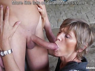 Horny old cougar tapes up say no to young toyboy increased by sucks him deficient keep
