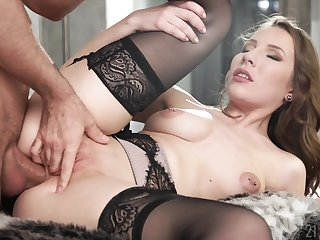 Elegant erotic babe Lina Mercury blows and rides there stockings