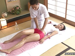 Asian babe in wet T-shirt Ichika Aimi gets her pussy fucked and creampied