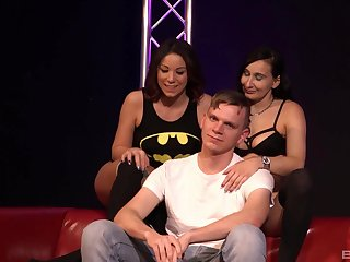 Seductive whores team up and give one guy a ride of his life