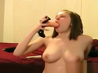 Take charge Teen Gagging On Her Dildo