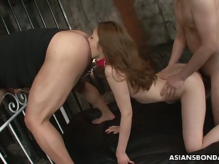 Submissive Japanese nympho Yui Tachiki gets hairy pussy improbable well