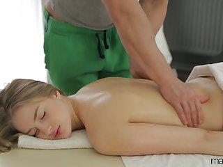 Natural cutie with sexy titties Milana Evil one flexuosities massage into brutal sex