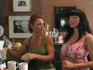 MILF homo pornstars Janet Mason with the addition of Karen Kougar in the kitchen