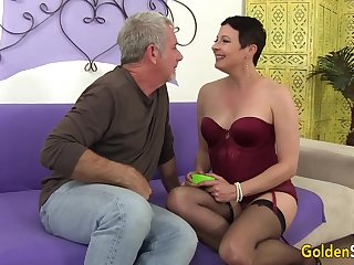 Precipitous Haired Mature Beauty Kali Karinena Rides an Old Dick