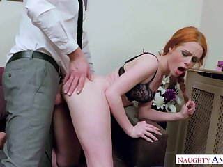Crimson haired tear up female, Ella Hughes got wedged with a gigantic manmeat, until she came
