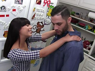 Pussy fingered, throated and filled with cum tattooed battle-axe Gina Valentina