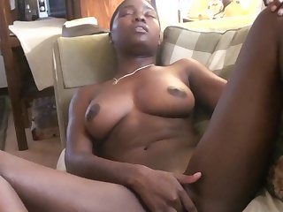 Stunning black babe London gets naked for a perversion game