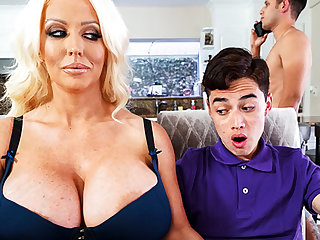 Busty stepmom interested to taste schoolboy's detect