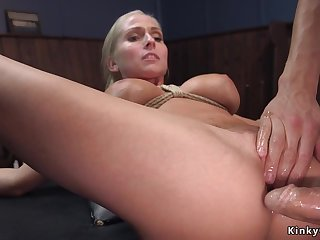 Big knockers blond hair lady agent assfucking had intercourse connected with bondage