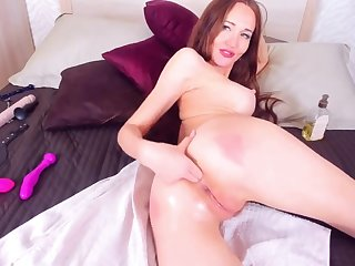 Hot Redhead Fingers Her Ass Together with Pussy