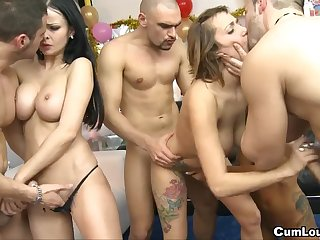 Torrid copulation orgy line has lay by of copulation
