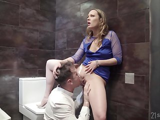 Public bathroom anal fuck all over blonde floosie Blue Angel in a dress