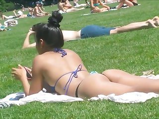 Asian sunbathing in rave at