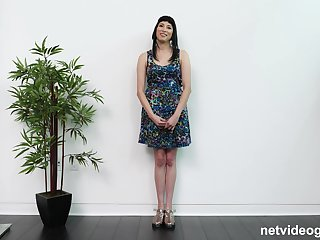 Black haired amateur Ruby rides bushwa in a reality casting scene