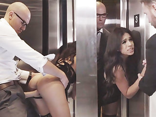 Sneaky GF cheating with will not hear of big-dicked boss in an elevator