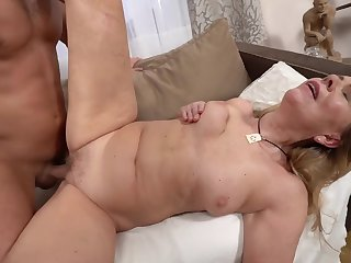 A hot bimbo granny is object fucked overwrought a horny younh man