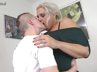 Mature 55YO old woman fucks her son's friend