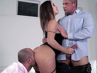 Lana Roy can only cum with two cocks pounding the brush holes hardcore