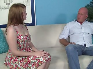 Young auburn chick Ariel Stoneis fucked by elder bald destined man