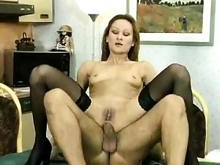 Amateur DP anal creampie and stockings closeup