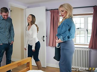Busty MILF whore Georgie Lyall blows a large rod and gets cum on circumstance