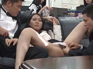 Pretty Asian office chicks get roughly some public coitus at work