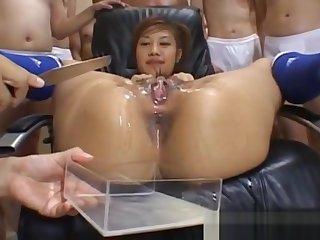 Mephitic Asian teen Azusa Ayano gangbanged in hot bukkake sex