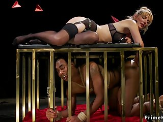 Blond Hair Girl mistress canes black male slave