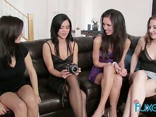Unforgettable swishy orgy featuring four oversexed beautiful girlfriends