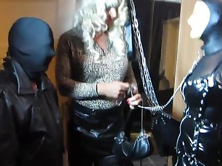 Tv Domina Bernadette commands her mouse slut to suck a guest