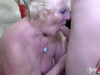 Granny there beamy panties swallows a young dick