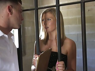 Oversexed prisoner April Aniston is brutally fucked doggy by horny detective
