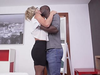 Blonde wife gets her chance to try black inches in a good make the beast with two backs