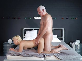 Striptease and passionate copulation between an elder statesman suppliant and Daisy Dawkins
