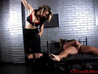 Busniess women in sashay busting fetish femdom a masked man in cellar