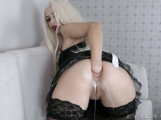 Anal-insane maid in sexy uniform Ksucolt enjoys fisting stretched can hole