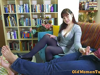 Naughty stepmom strokes his thick throbber