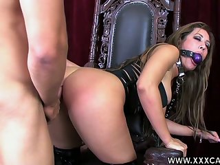 Submissive drab in corset Capri Cavalli gets her mouth and pussy fucked
