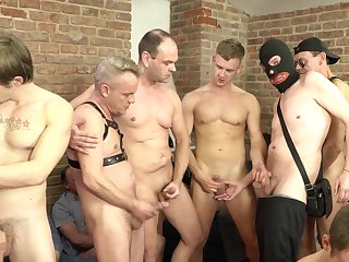 Massive gay orgy with commonly of handjobs, blowjobs and jizz