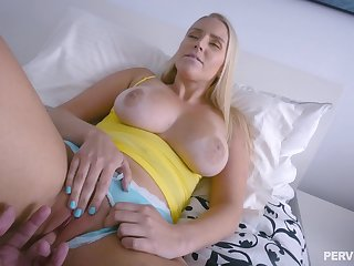 Blonde mom feels astounding with the step son's dick spinning her world
