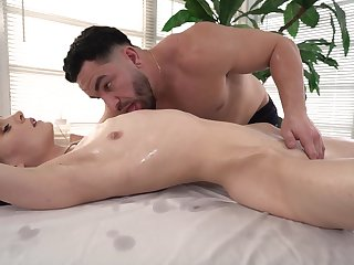 Closeup hard sex with the masseur after he teases the brush a lot