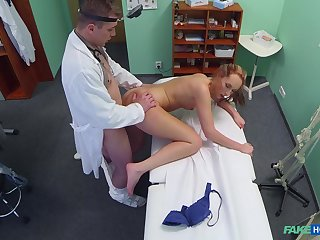 Skinny babe coils of the doctor's energized dick
