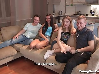 Russian student group sex party with four pretty amateur chicks