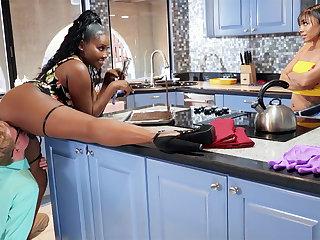 Buxomy Ma seduced stepdaughter's BOYFRIEND not far from kitchen