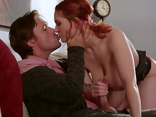 Rather ductile redhead with juicy boobies lets man fuck her missionary hard