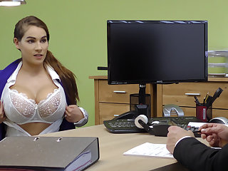 Domineer cloudy gives a titjob to acquire a loan