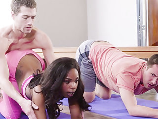 Yoga Omnibus Fucked Ebony Girl nearly Threesome